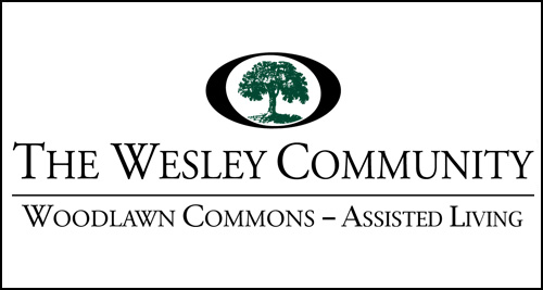 The logo for Woodlawn Commons Assisted Living at The Wesley Community.
