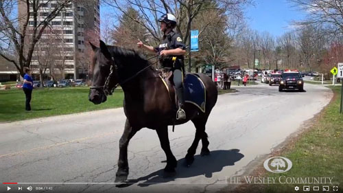 A mounted police officer on his horse and leading a parade.