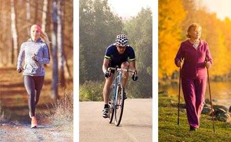 A walker, runner and biker montage.