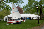 sailboat display on lawn