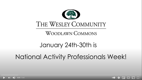 A video screen grab for National Activity Professionals Week