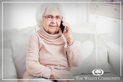 Older lady talking on phone