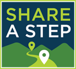 THe Share a Step logo with waypoints added.