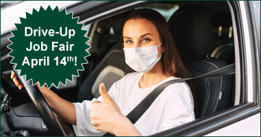 Woman with medical mask is driving a car to promote a drive-up job fair on April 14th.