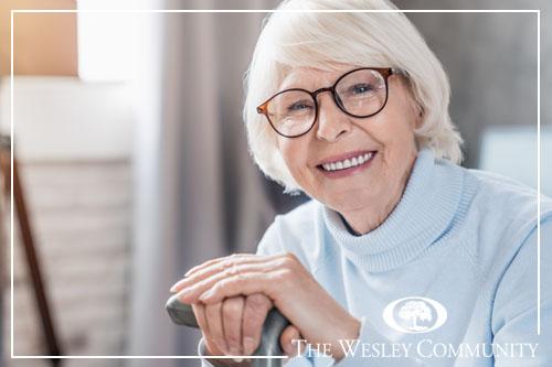A happy senior woman looking at the camera.