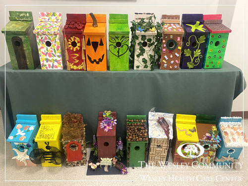 Two rows of colorful birdhouses.