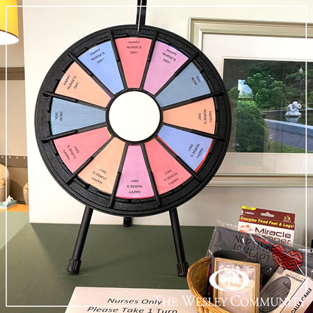 A spinning game wheel for giveways.