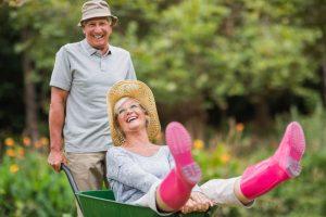 senior female in a wheelbarrow